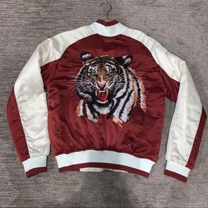 Silence + Noise Satin Bomber w/ Embroidered Tiger